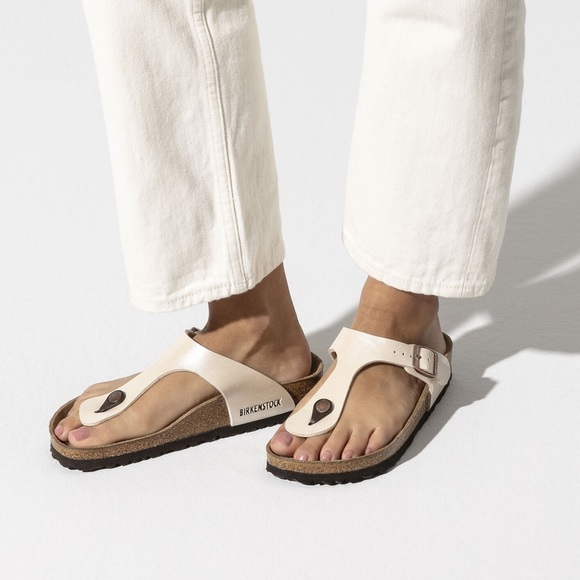 Birkenstock Gizeh Pearl White Leather Thong Sandal